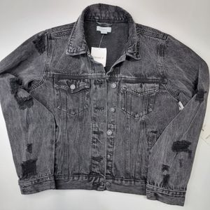 NWT FOREVER 21 Washed Black Distress Casual Denim Jacket
